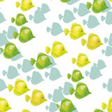 Yellow coral fish seamless pattern. Stock Images