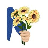 Yellow coreopsis in the hand. A man s hand gives a bouquet with yellow koreopsis. Flowers for birthday, March 8, Valentine s Day, anniversary. For gift cards Vector Illustration