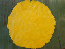 Yellow corn dough. On a banana leaf to prepare a hallaca for christmas Royalty Free Stock Image