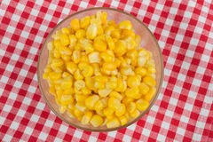 Yellow corn in a glass bowl Royalty Free Stock Photo