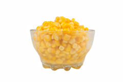 Yellow corn in a glass bowl Stock Photography