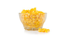 Yellow corn in a glass bowl Royalty Free Stock Photography