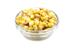 Yellow corn in a glass container. On a white background Stock Image