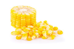 Yellow corn isolated on the white Royalty Free Stock Photos