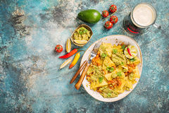 Yellow corn nacho chips Royalty Free Stock Image