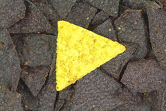 Yellow Corn Tortilla Center Blue Chips Stock Images