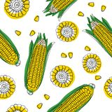 Yellow corncobs with green leaves seamless pattern. Ripe corn vegetables. Vector illustration. stock illustration