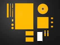 Yellow Corporate ID mockup. High resolution Royalty Free Stock Photo
