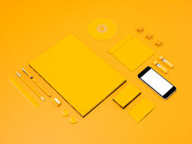 Yellow Corporate identity mockup. High resolution 3d Royalty Free Stock Photos