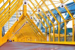 Yellow corridor, spheres and p Royalty Free Stock Photography