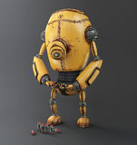 Yellow Corrosion Robot, background 3d illustration Royalty Free Stock Photos