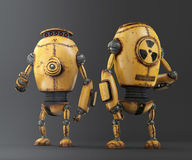 Yellow Corrosion Robot, background 3d illustration Stock Images