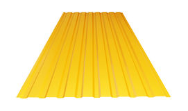 Yellow corrugated metal sheet. On white background. 3d Illustrations Royalty Free Stock Photos