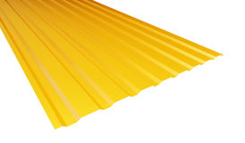 Yellow corrugated metal sheet. On white background. 3d Illustrations Royalty Free Stock Image