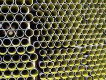 Yellow corrugated tube for the laying of ducts Stock Image
