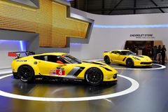 Yellow corvettes. Two yellow corvettes pictures at the Geneva Motor Show in Switzerland, 2014 Stock Photo
