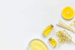 Yellow cosmetic set for body care on white background top view Royalty Free Stock Image