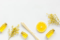 Yellow cosmetic set for body care on white background top view Stock Photography