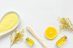Yellow cosmetic set for body care on white background top view Stock Photos