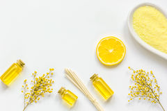 Yellow cosmetic set for body care on white background top view Royalty Free Stock Photography