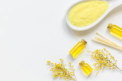 Yellow cosmetic set for body care on white background top view Stock Image