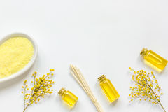Yellow cosmetic set for body care on white background top view Royalty Free Stock Photo