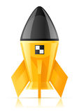 Yellow cosmic rocket Royalty Free Stock Photo