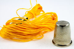 Yellow cotton thread Stock Image