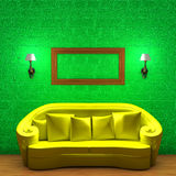 Yellow couch with empty frame and sconces Royalty Free Stock Photo