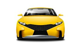 Yellow Coupe Sporty Car On White Background. Front View With Isolated Path. Yellow Coupe Sporty Car. Generic Automobile With Glossy Surface On White Background stock illustration