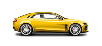 Yellow Coupe Sporty Car On White Background. Side View With Isolated Path. Yellow Coupe Sporty Car. Generic Automobile With Glossy And Carbon Fiber Surface On stock illustration