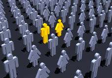 Yellow couple in crowd stock illustration