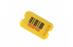 Yellow coupon with serial number. And bar code isolated against white background Stock Images