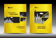 Yellow Cover template With city landscape, Annual report cover design, Business brochure flyer template, advertisement. Company profile, magazine ads, book royalty free illustration