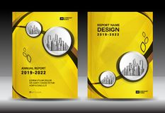 Yellow Cover template With city landscape, Annual report cover design, Business brochure flyer template, advertisement. Company profile, magazine ads, book stock illustration