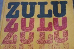 Yellow cover of Zulu language book stock photo