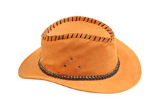 Yellow cowboy hat taken closeup.Isolated. Royalty Free Stock Photos