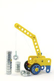 Yellow crane. The mock-up of yellow crane which constructs against the white background Royalty Free Stock Photos