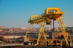 Yellow crane Stock Images
