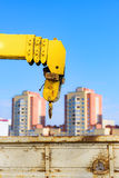 Yellow crane arm Stock Images