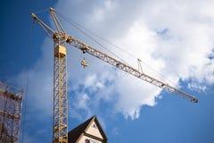 Yellow crane with blue sky Royalty Free Stock Photos