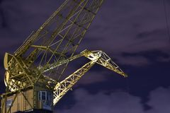 Yellow crane in Buenos Aires stock image