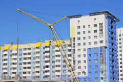 Yellow crane  on building site Royalty Free Stock Images