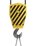 Yellow crane hook, front view Royalty Free Stock Photo