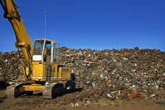 Yellow Crane & Scrap Yard Royalty Free Stock Image