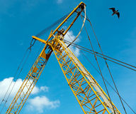 Yellow crane and seagull against blue sky. A yellow crane raises against a blue sky, its strong lines and angles of metal and cables contrasted by the gentle stock images