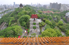 Yellow crane tower at Wuhan, China. View to the east from the Yellow Crane Tower. The eastern part of the Snake Hill is in the middle; the red-brick compound of Royalty Free Stock Photography