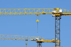 Yellow cranes Royalty Free Stock Image