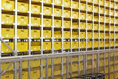 Yellow crates warehouse Royalty Free Stock Images