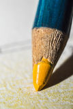Yellow Crayon. Extreme Closeup Of A Yellow Crayon Royalty Free Stock Images